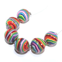 Colorful round stripes beads, Polymer Clay beads in rainbow colors, Set of 6 unique beads