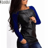 Zanzea 2016 Women Shirts Long Sleeve PU Leather Patchwork Blouses Fashion Autumn Winter Casual Loose Tops Blusas Plus Size