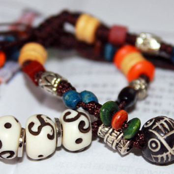 His And Hers Stacked Hand Carved Antiqued Bone Beaded Bracelet,About The Love