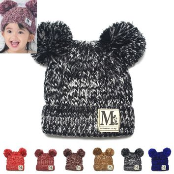 Moeble New Fashion Baby Girls Boys Beanie Hats Kids Children Dual Ball Knit Sweater Cap Hats Winter Warm Knitted hats
