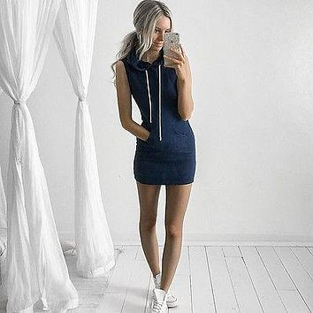 Hooded Sleeveless Dress