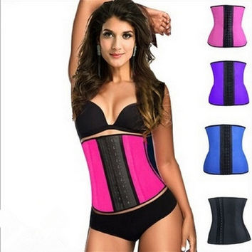 Steel Boned Women Natural Rubber Waist Tummy Trainer Girdle Belt Waist Training Cincher Underbust Healthy Latex Sexy Sport Corset Body Shaper