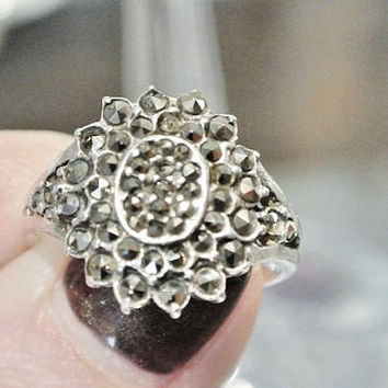 Antique Marcasite Ring Art Deco Ring 925 Sterling Silver 1930s 1940s Artisan Hand Crafted Split Shank Ring Size 8 Eight Womens Ring Estate
