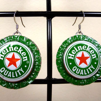 Bottle Cap Earrings - Recycled Heineken - Supporting the Deaf in Ghana