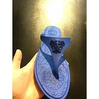 Versace Tide brand men's and women's fashion versatile flat-bottomed flip-flops blue