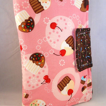 Cute Kindle Fire Case Kindle Fire HD Cases Kindle Fire Cover Cupcakes Cherries Pink and Brown