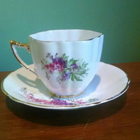 Vintage Windsor Bone China Tea Cup And Saucer Set, Pink and Purple Flowers with Gold Trim