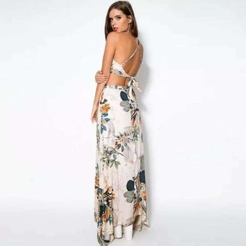 Women's Sets Sexy Vestidos Large Size Dress Party Maxi Formal Club Clothes Sets  Summer Print Top and Long Skirts Set 2018
