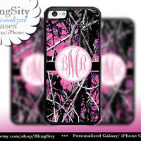 Camo Pink Monogram iPhone 5C 6 Plus Case iPhone 5s 4 case Ipod muddy Realtree Personalized Cover Country Inspired Girl