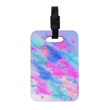 "Ebi Emporium ""Seeing Stars II"" Blue Pink Decorative Luggage Tag"