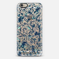 Teal Garden - transparent floral doodle - cream, navy, aqua iPhone 5s case by Micklyn Le Feuvre | Casetify