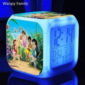Tinker Bell Rosetta Silvermist Fawn Glowing LED Color Change Multifunction digital alarm clocks