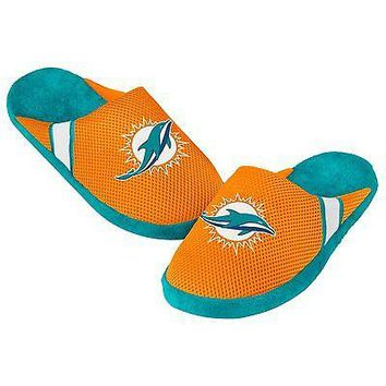 Dolphins Jersey Mesh SLIDE SLIPPERS New -   - Miami Dolphins