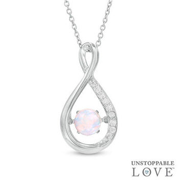Unstoppable Love™ 4.5mm Lab-Created Opal and White Sapphire Infinity Pendant in Sterling Silver - View All Necklaces - Zales