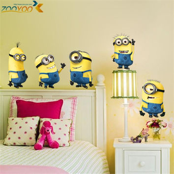 Despicable me 2 minions wall stickers for kids rooms zooyoo1404 decorative wall art removable pvc cartoon wall decal SM6