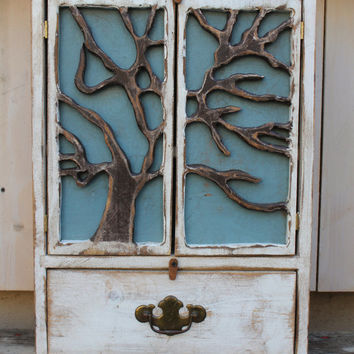 Wall Cabinet - Bath - Wooden Furniture - Cabinet - Shelf - Tree - Art - Artistic - Shabby, cottage - chic - french country - 24 x 17 x 5.5