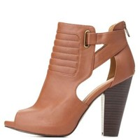 Qupid Quilted Cut-Out Peep Toe Booties by Charlotte Russe