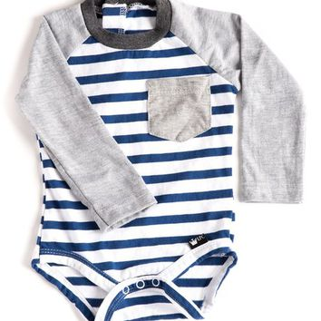 Littlest Prince Couture Navy & White Stripe Long-Sleeve Bodysuit - Infant