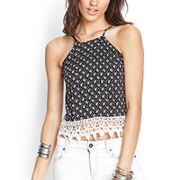 FOREVER 21 Spotted Crochet-Trimmed Cami Black/Cream