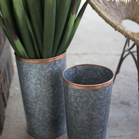 Set of 2 French Buckets with Copper Rims