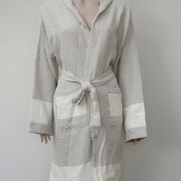 Women's or men's milky brown colour diamond patterned Turkish soft cotton hooded bathrobe, dressing gown, bridal robe.
