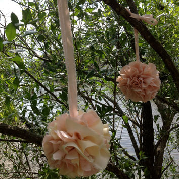 Set of 2 - Peach - Fabric Pom Pom, Pomander, Kissing Ball - Chair Accent, Wedding  Aisle, Streamers, Bow - Tattered, Rustic - Baby Shower