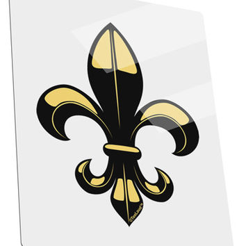 Golden Fleur de Lis Metal Panel Wall Art Portrait - Choose Size