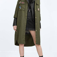 Longline Patching Lapel Jacket in Olive Green