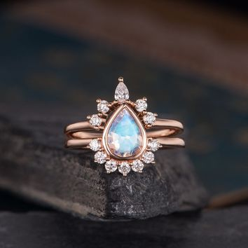Rose Gold Engagement Ring Set Moonstone Bridal Set Pear Shaped Crown Curved Half Halo Unique Antique Bridal Wedding Ring Anniversary Women