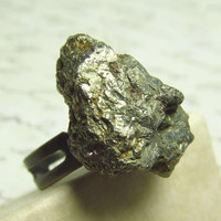 Pyrite Stone Ring Chunk of Pyrite on Adjustable Brass by EbonFlow