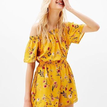 Fashion Casual Floral Print Off Shoulder Short Sleeve Drawstring Romper Jumpsuit Shorts