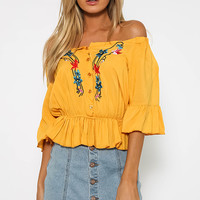 Damien Crop - Yellow Floral