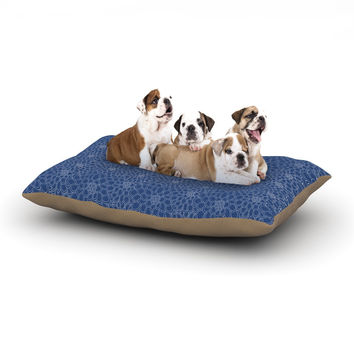 "Julia Grifol ""White Flowers on Blue"" Navy Blue Dog Bed"