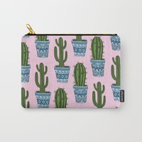 Cactus Pattern (Pink) Carry-All Pouch by Sarah Oelerich