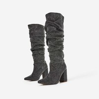 Vincy Slouched Long Boot In Silver Diamante