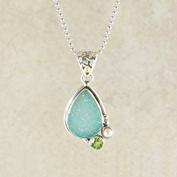 Mantra Pendant Necklace in Sterling Silver
