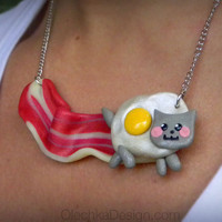 BACON Nyan-Cat Meme Necklace - BACON and EGG - Polymer Clay