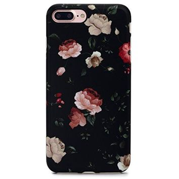 GOLINK iPhone 7 Plus Case for Girls Floral Series Slim-Fit Anti-Scratch Shock Proof Anti-Finger Print Flexible TPU Gel Case For iPhone 7 Plus 5.5 inch Display - Flower Black