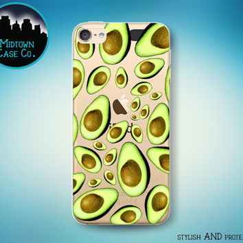 Avocados Pattern Guacamole Mexican Food California Avocado Fun Health Food Fruit Clear Transparent Rubber Case for iPod Touch 6th or 5th Gen