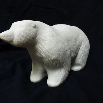 """Marble sculpture Polar bear hand carved white marble figurine unpolished with fur imitation 8"""" x 3.25"""" x 4.5"""""""
