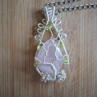 Tree of Life Pendant Rose Quartz and Peridot Wire Wrapped Pendant in Silver Parawire Necklace