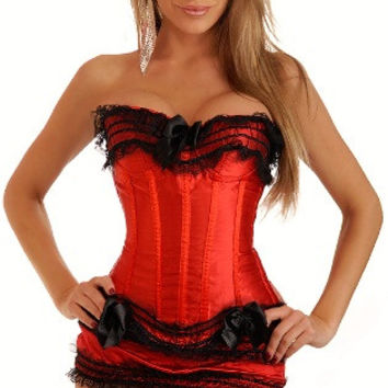 Strapless Lace Corset with Mini Skirt Set