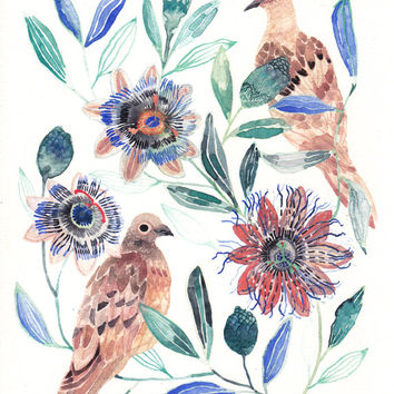 Two Mourning doves and Passion Flowers - Archival Print