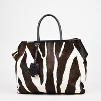 "Fendi Brown & White Zebra Print Calf Hair & Leather ""2Jours"" Tote"