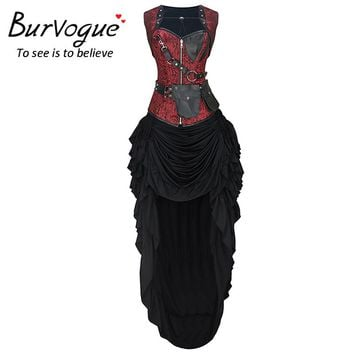 Burvogue Women Gothic Steel Boned Steampunk Overbust Corset Dress Sets Reversible Tops Slimming Waist Cincher Trainer Corselet