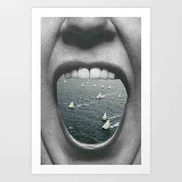 How to swallow the sea. Art Print by couper_et_coller