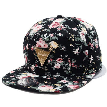 Can Track Baseball Cap Floral Hip Hop Hat Snapback Flat Peaked Adjustable Flower Hat For Women Caps Fashion