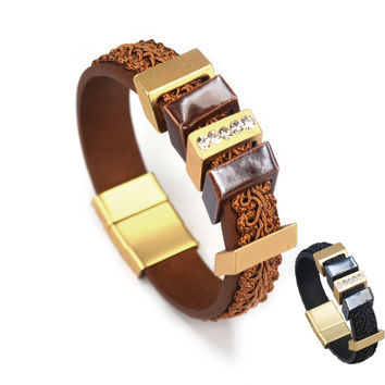 Popular Black Brown Regaliz Licorice Cuff Bracelets Big Square Charm Leather Bracelet Thick Leather Cuff Men Womens Accessories