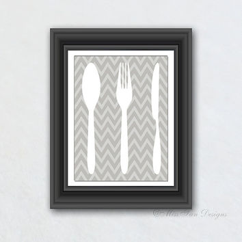 Kitchen Print, Spoon Fork Knife, Chevron Pattern, Solid Color, Kitchen Decor, Wall Hanging, Your Choice of Any Background