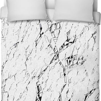 Cracks - cramped paper, abstract Duvet Cover design, cramped paper pattern bedroom decor, lines on canvas.
